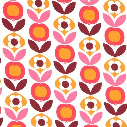 white with cute orange flower design fabric by Copenhagen Print Factory