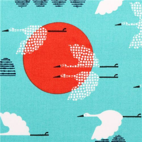 blue Cloud 9 cranes animal organic fabric tsuru