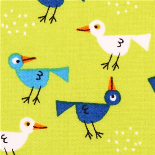 green Cloud 9 bird animal organic fabric Happy Drawing Too