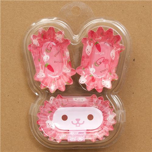 cute pink rabbit bento lunch box paper cups