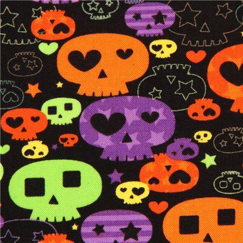 black Halloween skull fabric Timeless Treasures USA