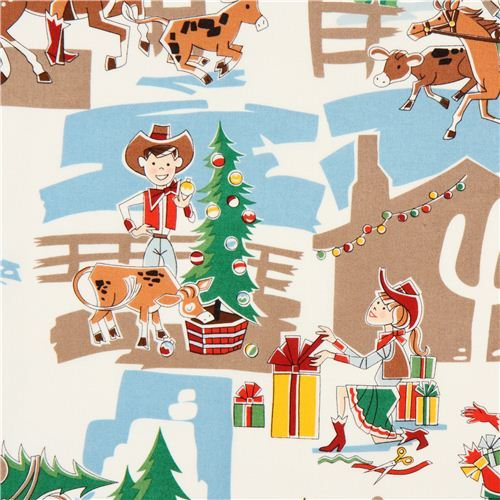 funny cowboy cowgirl Christmas fabric Alexander Henry