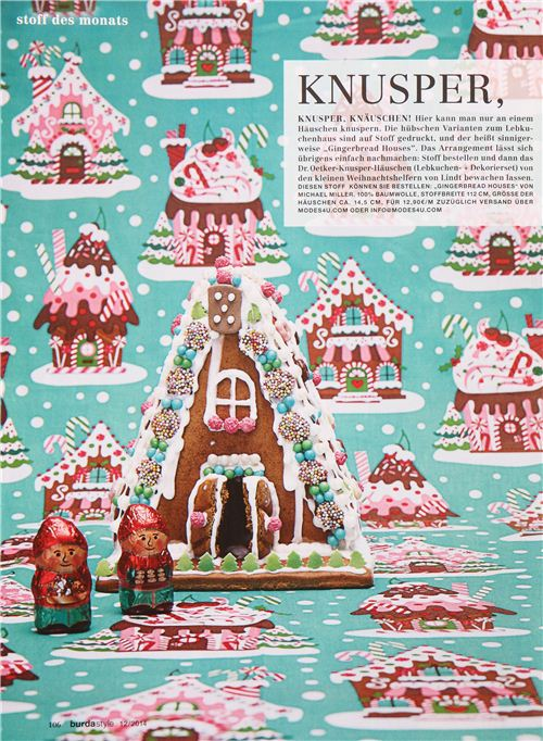 Our Michael Miller gingerbread house fabric with a real gingerbread house