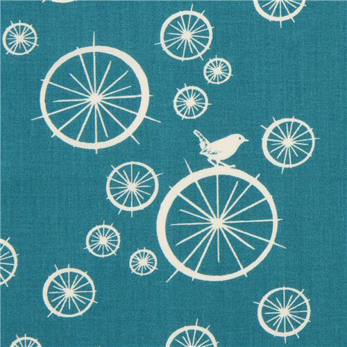 teal birch organic fabric Birdie Spokes with wheels bird