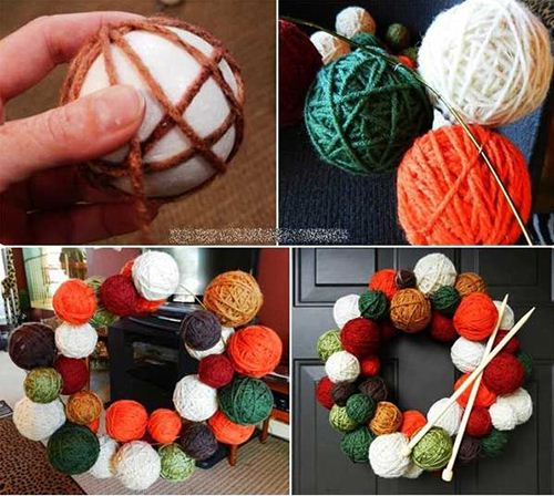 This heart-warming ball of yarn wreath is a true piece of art.