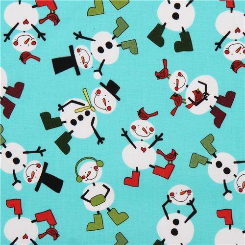 cute turquoise snowman Christmas by fabric Andover USA