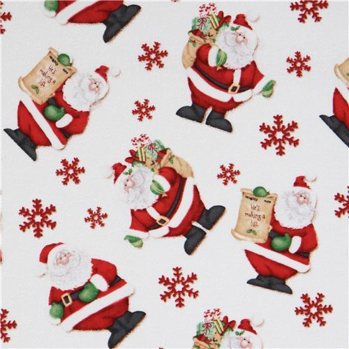 white Santa Claus snowflake ice crystals Christmas fabric Henry Glass