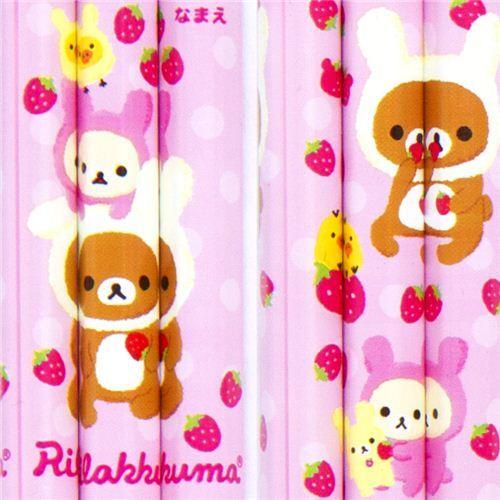 Rilakkuma as bunny pencil set 3pcs with stawberries