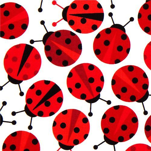 kawaii fabric with red ladybirds Robert Kaufman