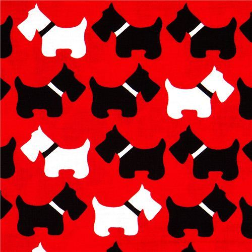 red fabric with Scottie dogs terrier Robert Kaufman