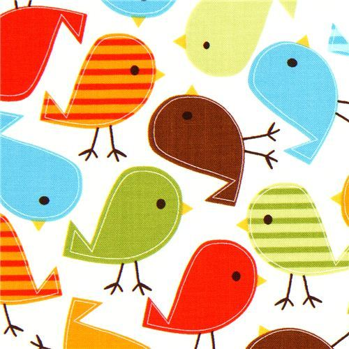 white fabric with colourful birds Robert Kaufman kawaii