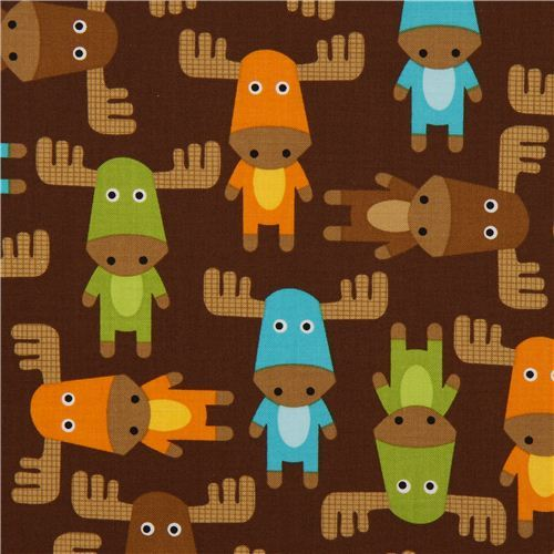 cute brown moose fabric by Robert Kaufman