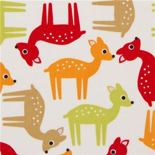 cute white deer fabric red-green by Robert Kaufman USA