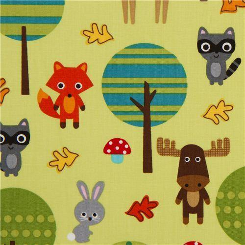 green forest animal fabric by Robert Kaufman USA kawaii