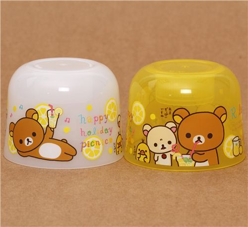 yellow Rilakkuma picnic bottle cap cups