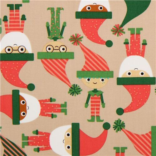 beige elves Santa Claus Robert Kaufman Christmas fabric