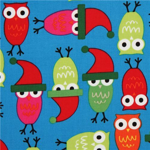 blue Christmas owl fabric by Robert Kaufman