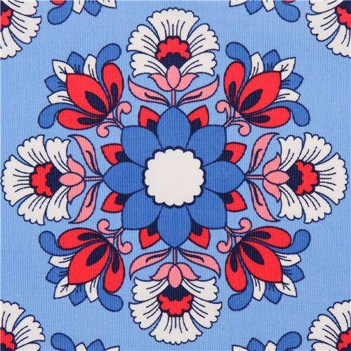 blue flower corduroy fabric by Timeless Treasures USA