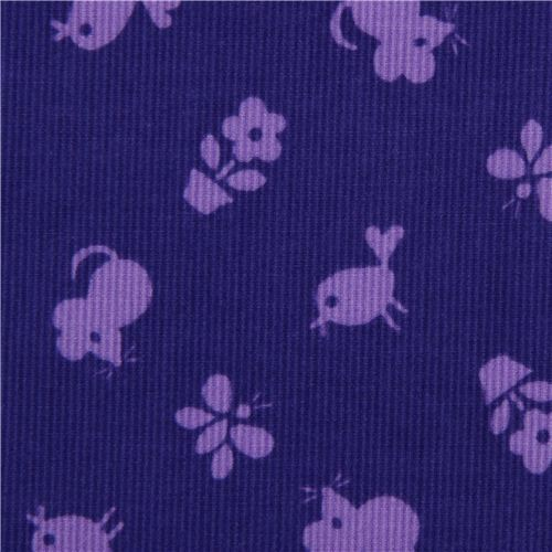 violet animal corduroy fabric mouse bird Timeless Treasures