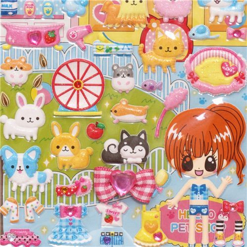 animal pet shop  sponge stickers with girl dress up doll