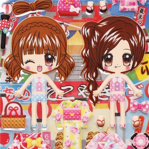 cute Kimono girls dress up doll puffy sponge stickers