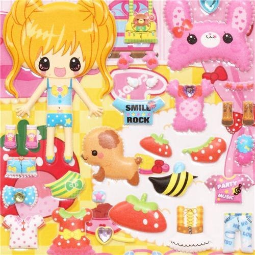 cute girls and dogs dress up doll puffy sponge stickers