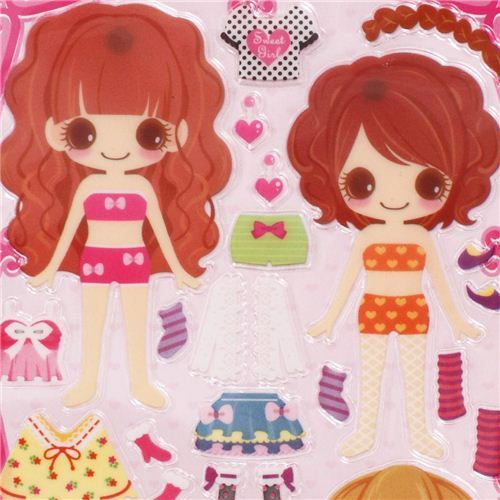 fashion girls dress up doll 3D stickers