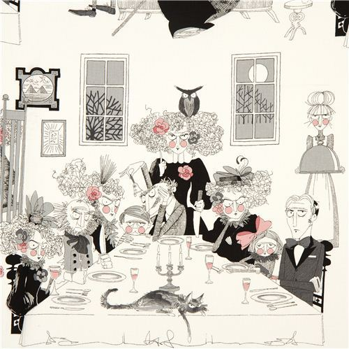 white witch family fabric by Alexander Henry dining room