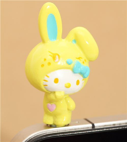 yellow Hello Kitty bunny mobile phone plugy earphone jack
