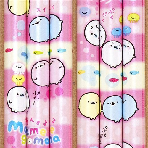 pink Mamegoma seals pencil with jelly fish & fish