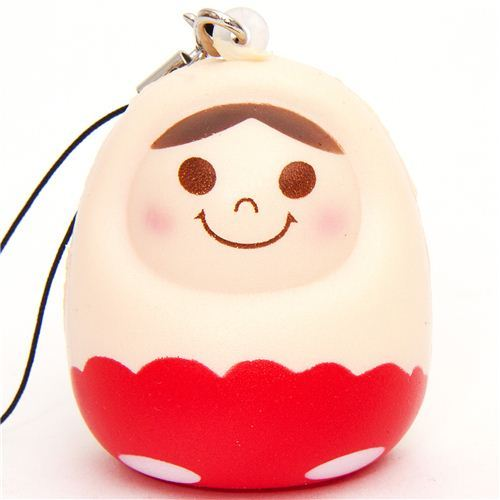 red matryoshka nesting doll squishy cellphone charm