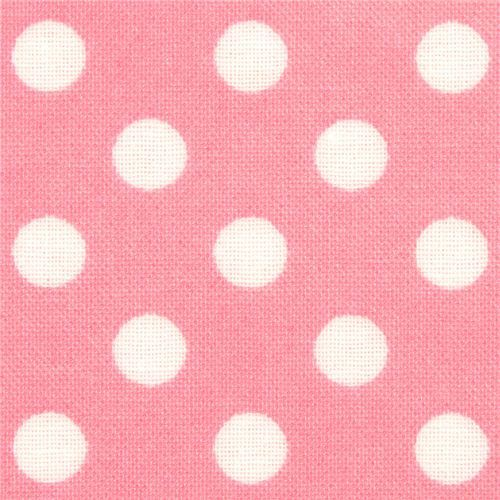 pale pink polka dot laminate fabric by Cosmo from Japan