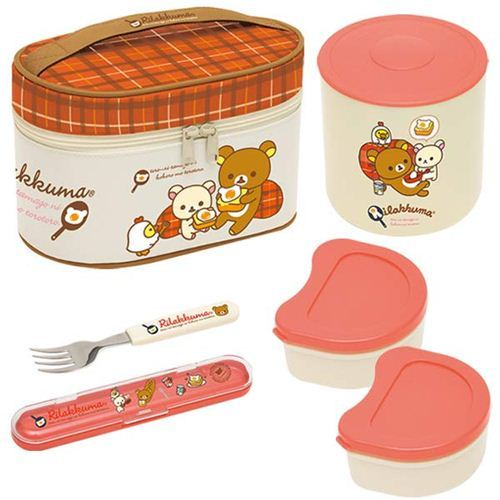 big Rilakkuma bear egg Bento Set Lunch Box + bag San-X