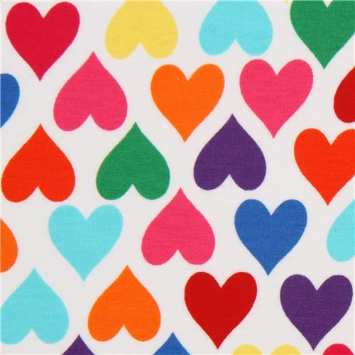 colourful heart knit fabric by Robert Kaufman