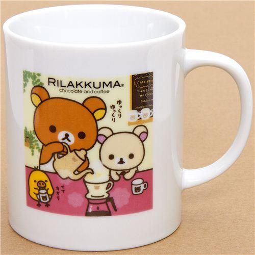 Rilakkuma bear cup with towel chocolate & coffee
