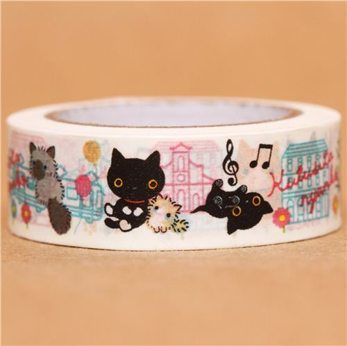 white Kutusita Nyanko cats city Washi Masking Tape