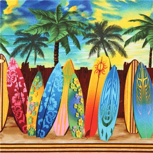 colourful surfboard stripe fabric Timeless Treasures USA