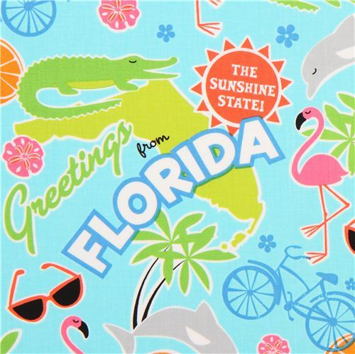 turquoise Florida animal fabric flamingo Timeless Treasures