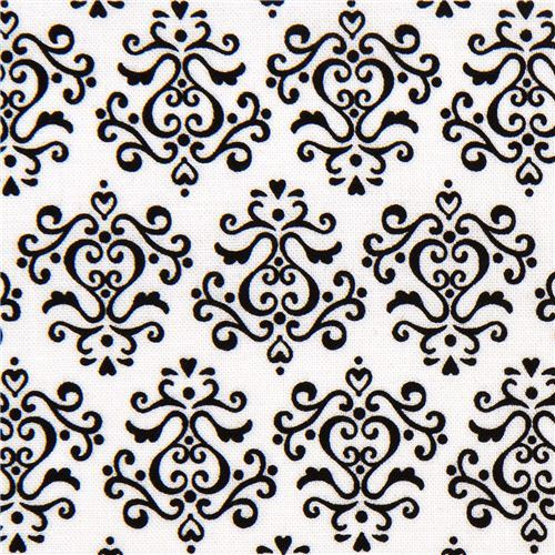 white Riley Blake fabric with black ornaments