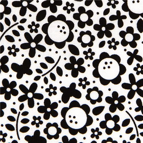 white Riley Blake fabric with flower & butterfly