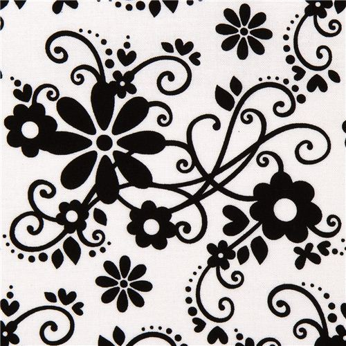 white Riley Blake fabric with flowers & embellishments