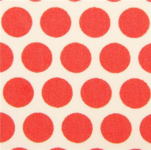 ecru birch organic fabric from the USA salmon red dots