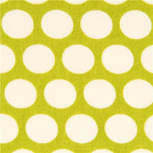 green birch organic fabric from the USA with white dots