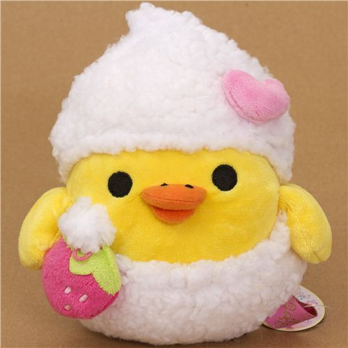 Kiiroitori yellow plush chick with bathing foam strawberry