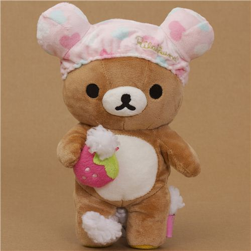 Rilakkuma brown plush bear with pink bathing cap foam
