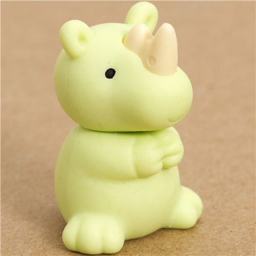 green rhinoceros eraser by Iwako from Japan