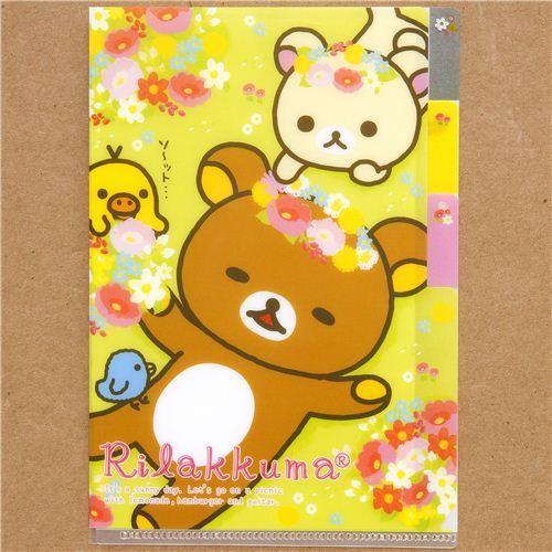 small plastic folder 3-pocket Rilakkuma picnic & flower