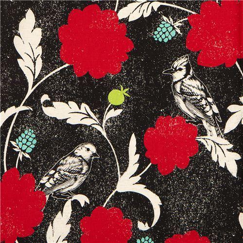 black echino canvas fabric Dahlia bird & flower Japan
