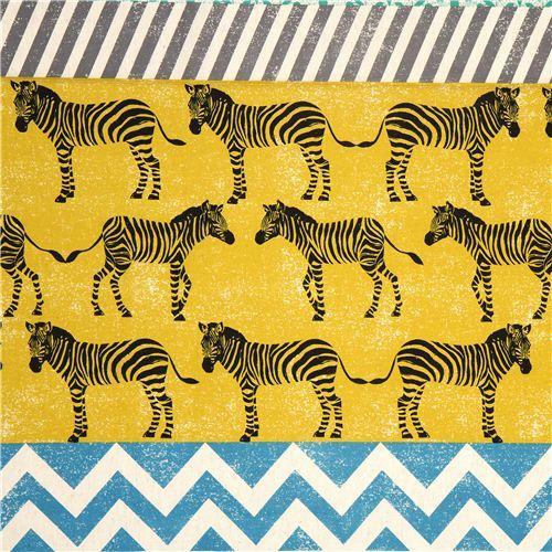 echino canvas fabric yellow zebras & stripes Japan