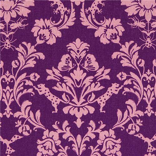 purple echino canvas fabric Gothic leopard & ornament